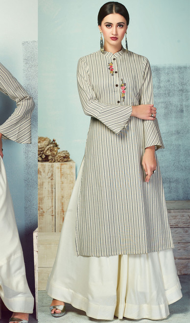 Gray Color Shaded Handloom Palazzo Dress