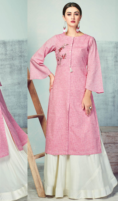 Palazzo Suit in Pink Color Shaded Handloom