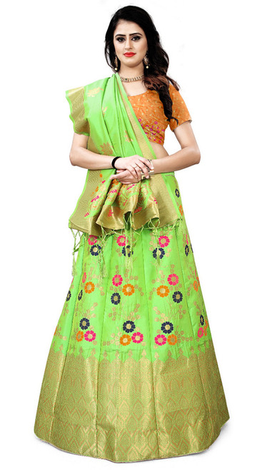 Green Color Shaded Silk Lehenga Choli