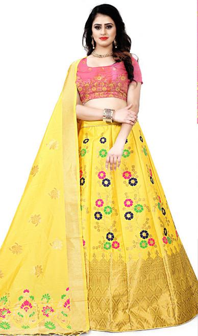 Yellow Color Shaded Silk Choli Skirt