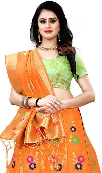 Orange Color Shaded Silk Lahenga Choli
