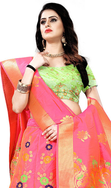 Pink Color Lehenga Choli Shaded Silk