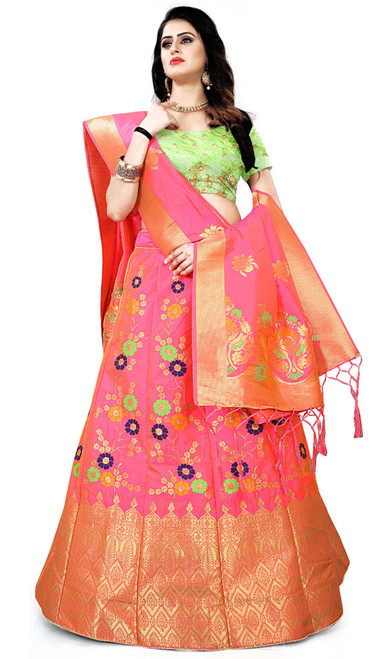 Pink Color Lehenga Choli Shaded Silk