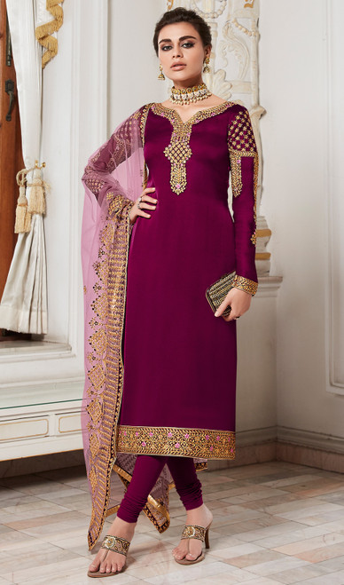 Voilet  Color Shaded Satin Georgette Churidar Dress