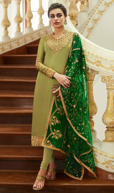 Green Color Embroidered Satin Georgette Churidar Kameez