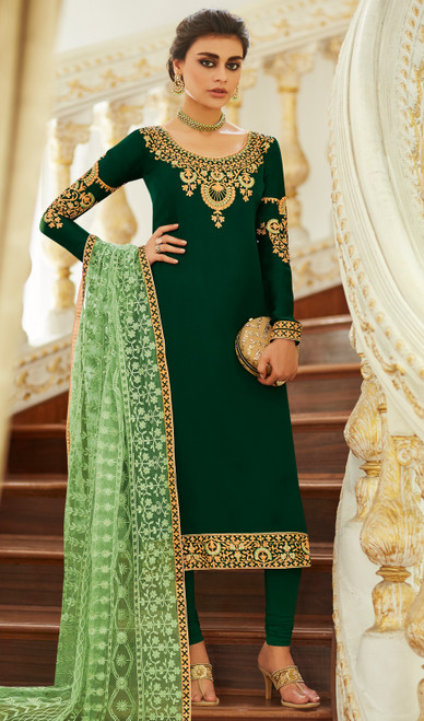 Churidar Kameez in Dark Green  Color Satin Georgette