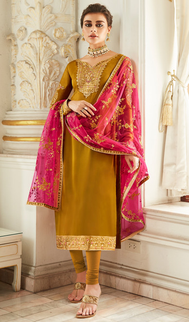 Churidar Suit, Satin Georgette Fabric in Mehendi Color