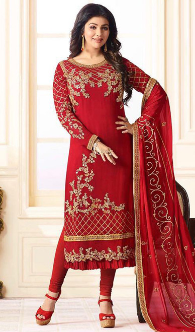 Ayesha Takia Red Color Georgette Churidar Suit