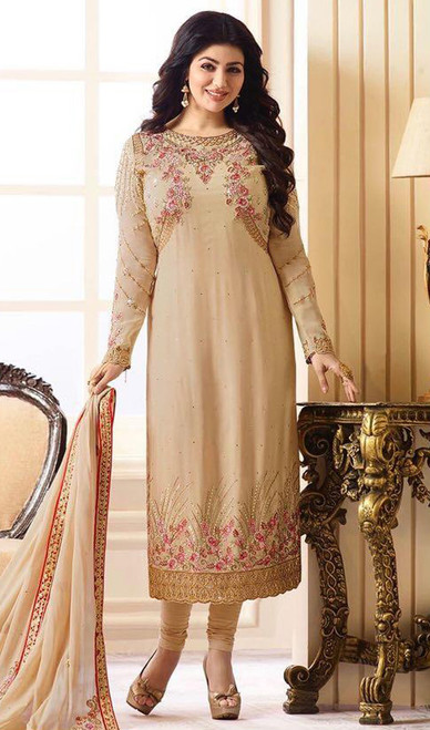 Ayesha Takia Beige Color Georgette Churidar Dress