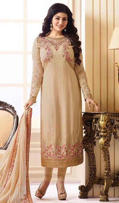 Ayesha Takia Beige Color Georgette Churidar Dress