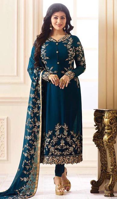 Ayesha Takia Blue Color Georgette Churidar Kameez