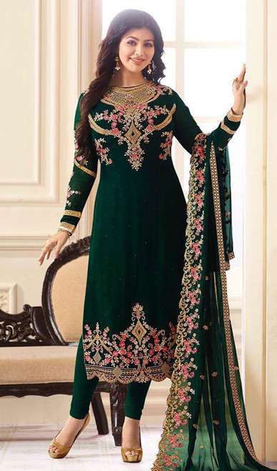 Ayesha Takia Green Color Georgette Churidar Suit
