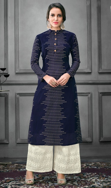 Navy Blue Color Shaded Silk Palazzo Suit