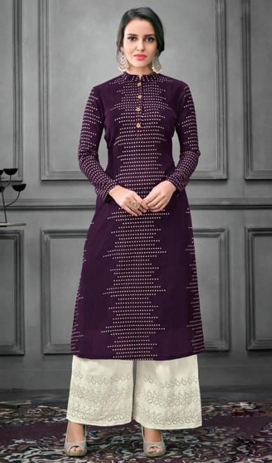 Purple Color Shaded Silk Palazzo Dress
