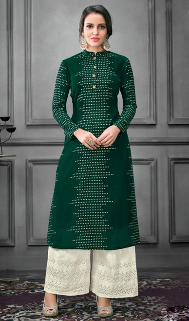 Silk Green Color Shaded Palazzo Suit