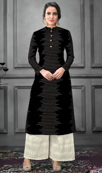 Black Color Shaded Silk Palazzo Dress
