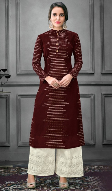 Palazzo Suit in Maroon Color Shaded Silk