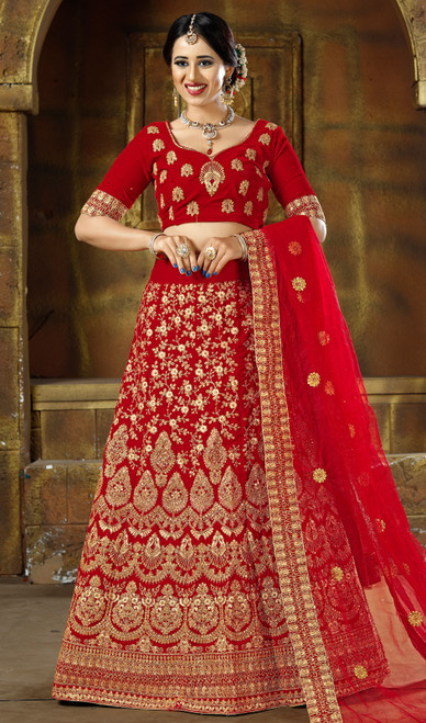 Red Color Embroidered Resham  Velvet Lehenga Choli