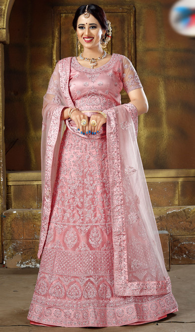 Pink Color Net Embroidered Resham  Choli Skirt