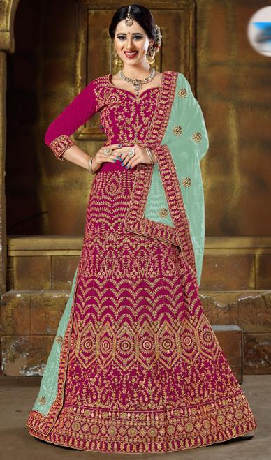 Magenta Color Embroidered Velvet Lahenga Choli