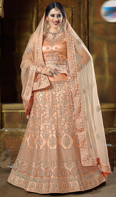 Peach Color Net Embroidered Lehenga Cholie