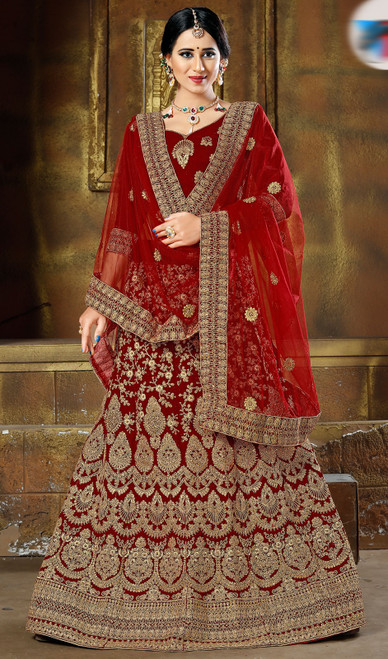 Maroon Color Velvet Embroidered Lahenga Cholie