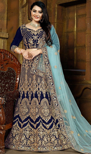 Royal Blue Color Shaded Velvet Lehenga Choli