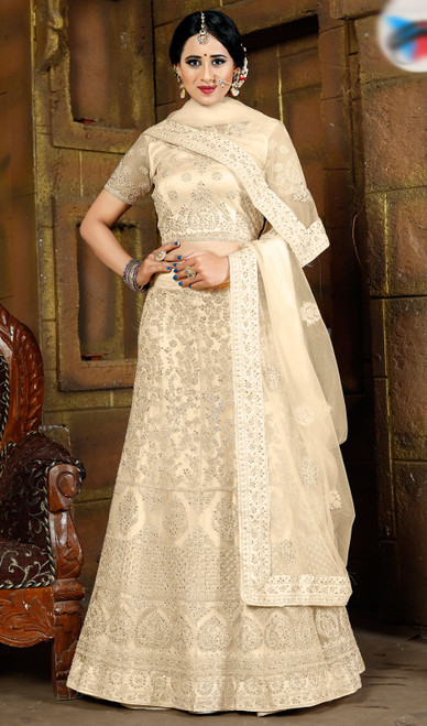 Cream Color Embroidered Net Lahenga Choli