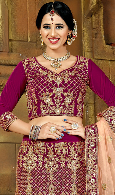 Purple Color Embroidered Velvet Lahenga Cholie