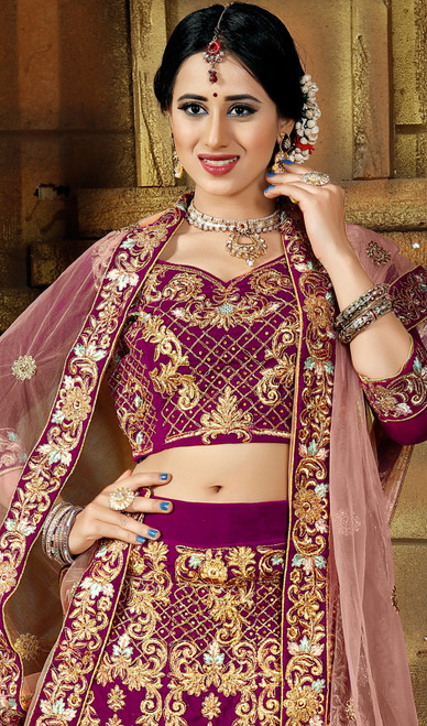 Dark Pink Color Embroidered Velvet Lehenga Cholie