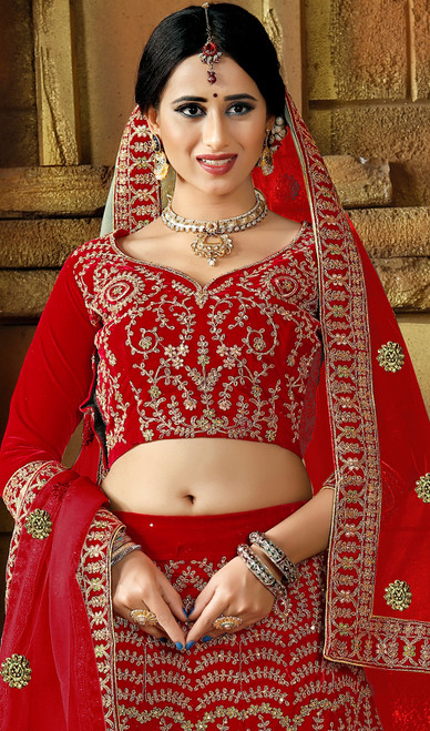 Lehenga Choli, Velvet Fabric in Red Color Shaded