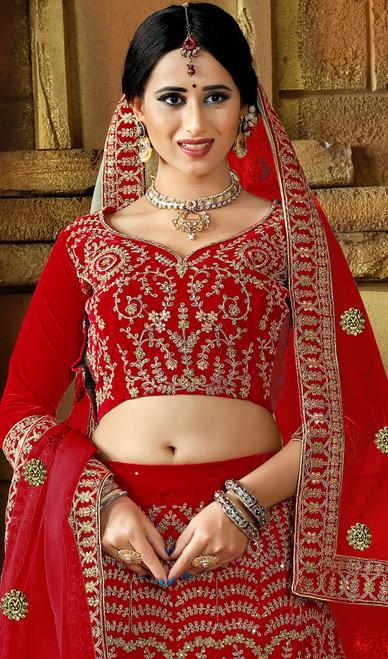 Lehenga Choli, Velvet Fabric in Red Color Shaded