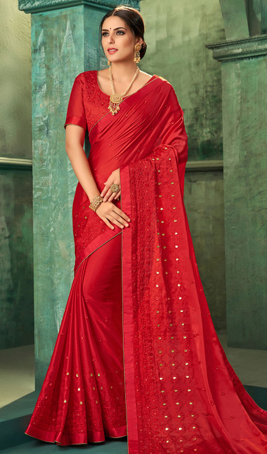 Red Color Zari Embroidered Georgette Sari