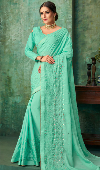 Sea Green Color Shaded Zari Work Georgette Sari
