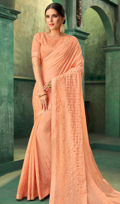 Peach Color Zari Embroidered Georgette Sari