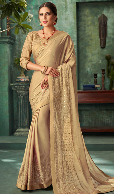 Beige Color Georgette Embroidered Sari