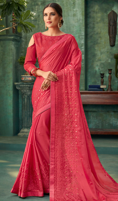 Red Color Shaded  Zari Embroidered Georgette Sari