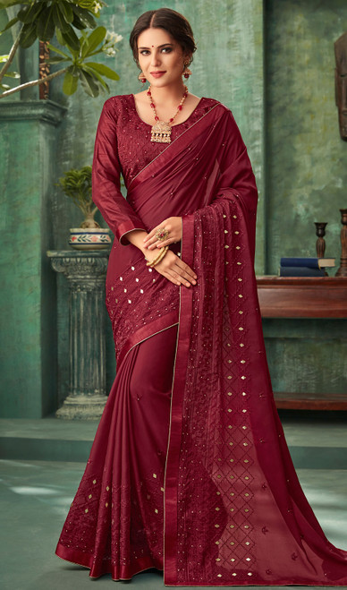 Maroon Color Georgette Embroidered Sari