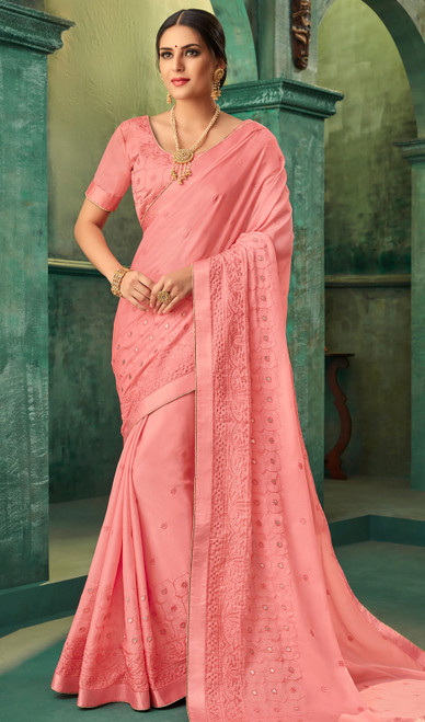 Pink Color Georgette Zari Embroidered Sari