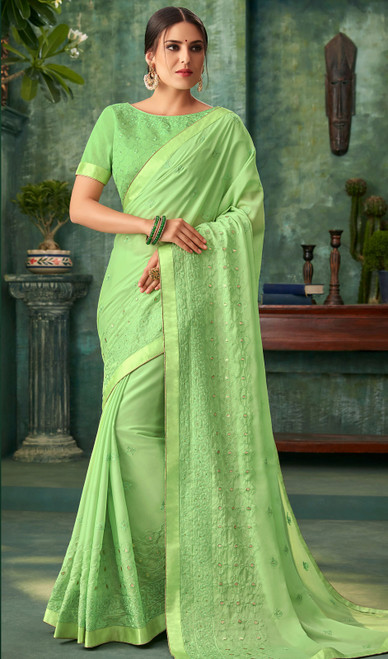 Green Color Embroidered Georgette Sari
