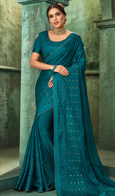 Teal Blue Color Shaded Georgette Sari