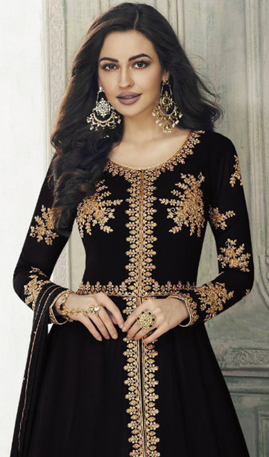 Georgette Black Color Embroidered Lehenga Choli Dress