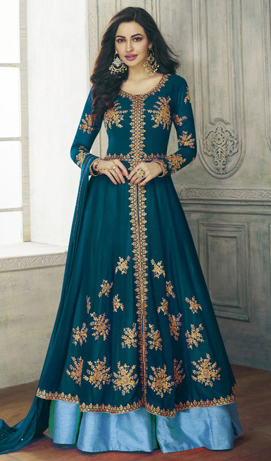 Teal Blue Color Shaded Georgette Lehenga Choli Suit