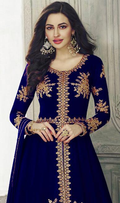 Blue Color Georgette Embroidered Lehenga Choli Dress