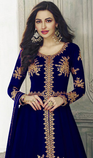 Blue Color Georgette Embroidered Lehenga Choli Dress