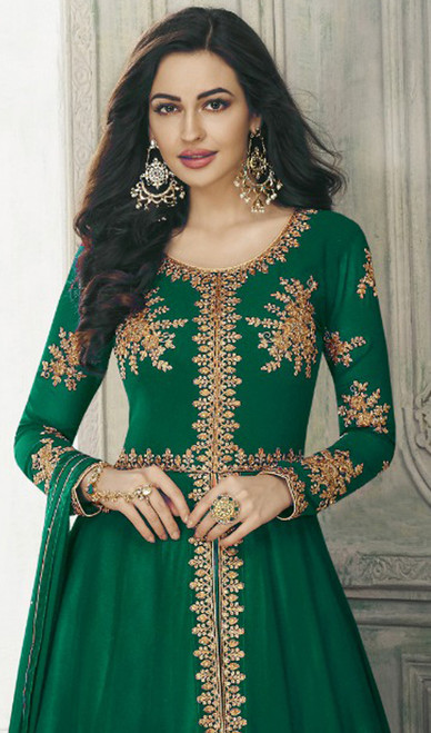 Green Color Shaded Georgette Lehenga Choli Suit