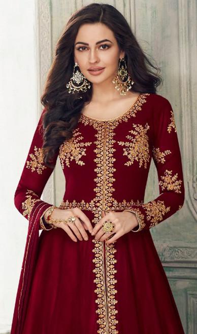 Maroon Color Georgette Lehenga Choli Dress