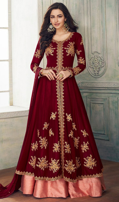 Maroon Color Georgette Lehenga Choli Dress