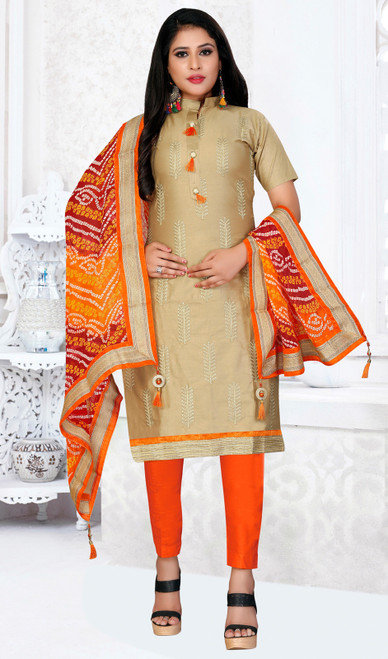 Beige Color Cotton Embroidered Pant  Suit