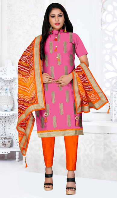 Pink Color Embroidered Cotton Pant Suit